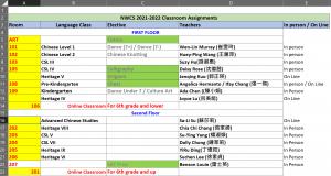 2021-22 Classroom Assignments